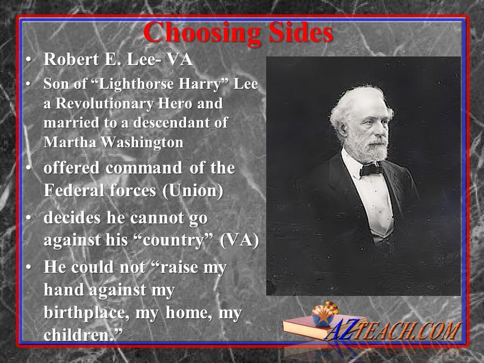 Choosing Sides Robert E. Lee- VARobert E.