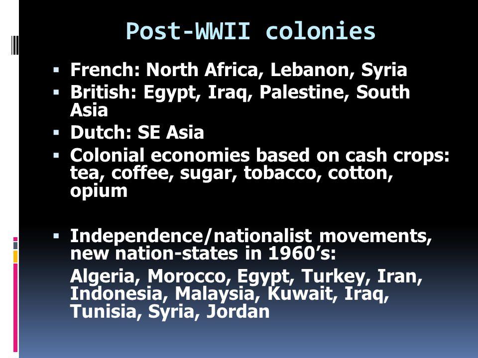 Egypt: British colony in 1882; sugar, cotton  Algeria, Tunisia, Morocco: French colonies; railroads, mining, agriculture  Iran: N.