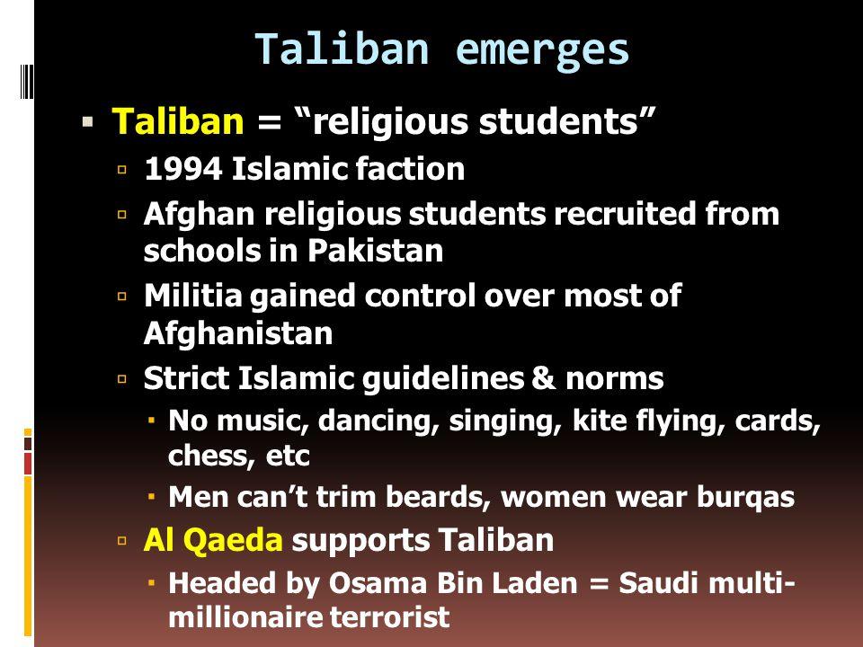 Resistance forms  Afghanistan ethnic groups: Pashtuns (47%), Tajiks, Uzbeks, Turkmen, Kirghiz, Hazara, Baluchis, Sunni (88%), Shia (12%)  Mujahidin = holy warriors launched jihad (holy war) against Soviet-sponsored govt.