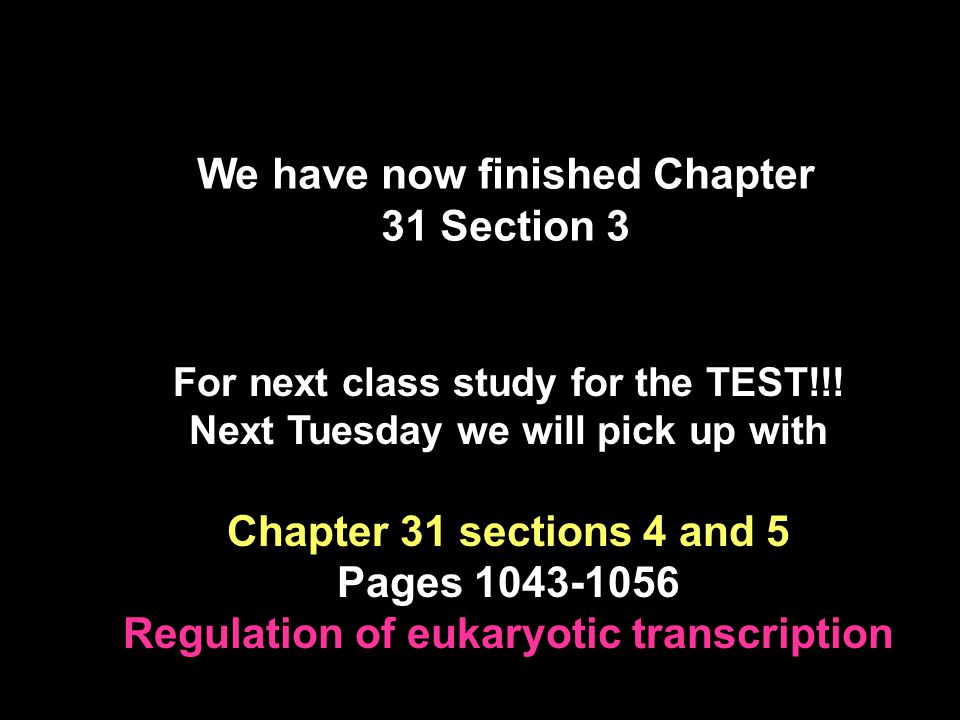 We have now finished Chapter 31 Section 3 For next class study for the TEST!!! Next Tuesday we will pick up with Chapter 31 sections 4 and 5 Pages 104
