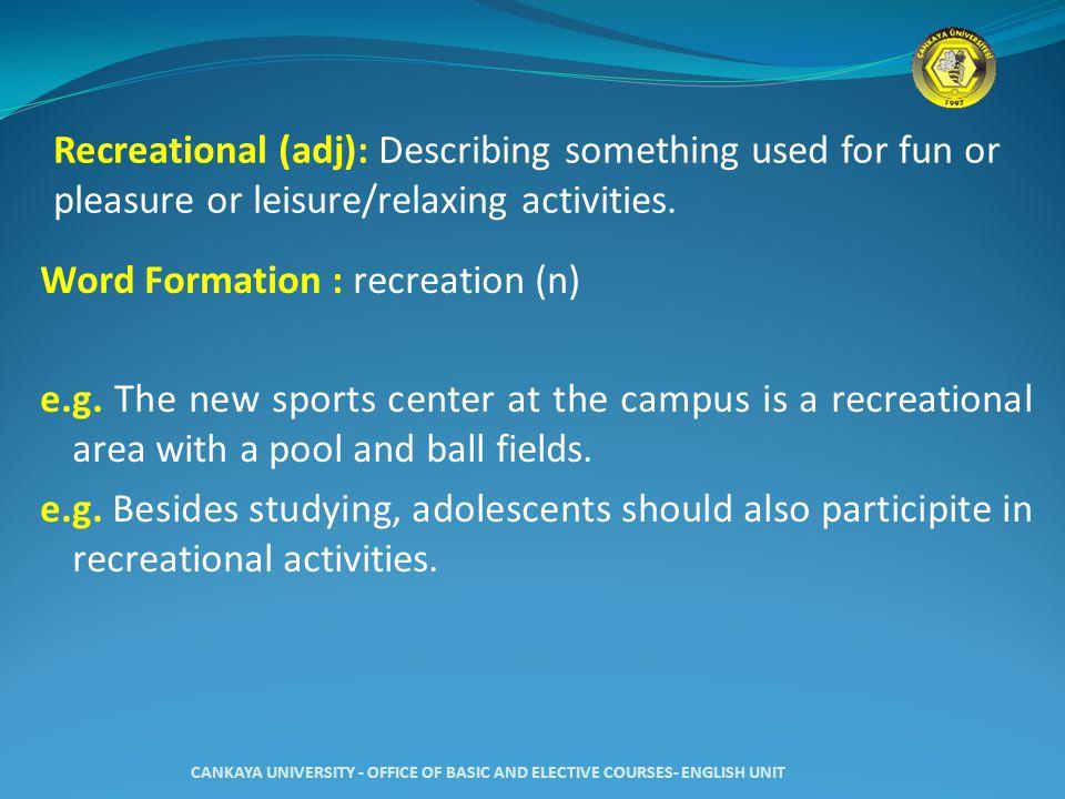 Recreational (adj): Describing something used for fun or pleasure or leisure/relaxing activities.