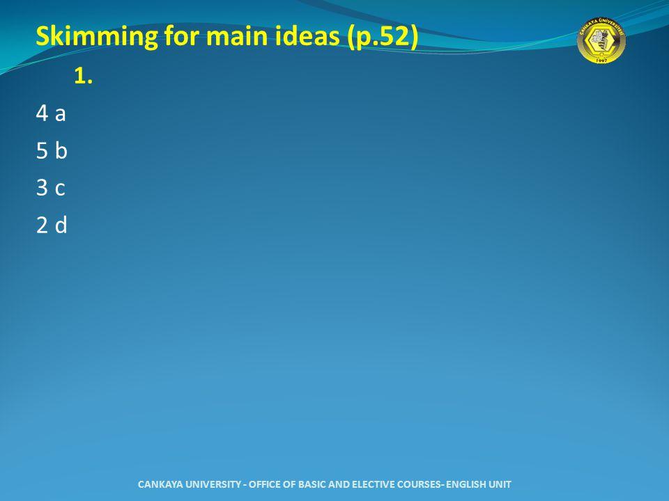 Skimming for main ideas (p.52) 1.