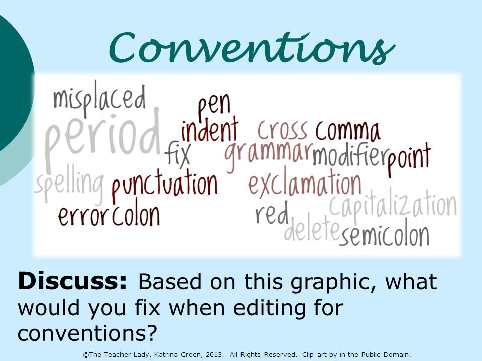 Conventions Discuss: Based on this graphic, what would you fix when editing for conventions? ©The Teacher Lady, Katrina Groen, 2013. All Rights Reserv