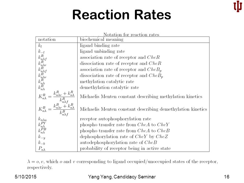 Reaction Rates 5/10/2015Yang Yang, Candidacy Seminar16