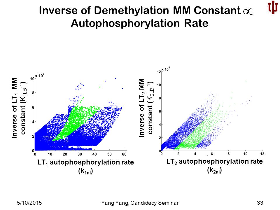 Inverse of Demethylation MM Constant Autophosphorylation Rate 5/10/2015Yang Yang, Candidacy Seminar33 LT 1 autophosphorylation rate (k 1al ) LT 2 autophosphorylation rate (k 2al ) Inverse of LT 1 MM constant (K 1LB -1 ) Inverse of LT 2 MM constant (K 2LB -1 )