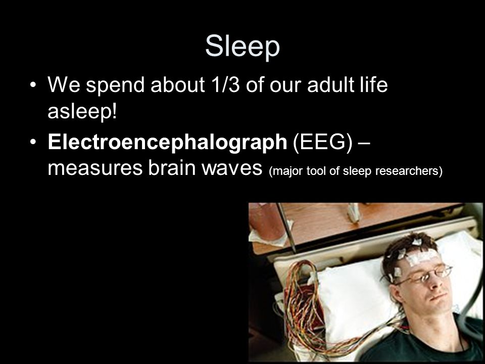 Sleep We spend about 1/3 of our adult life asleep.