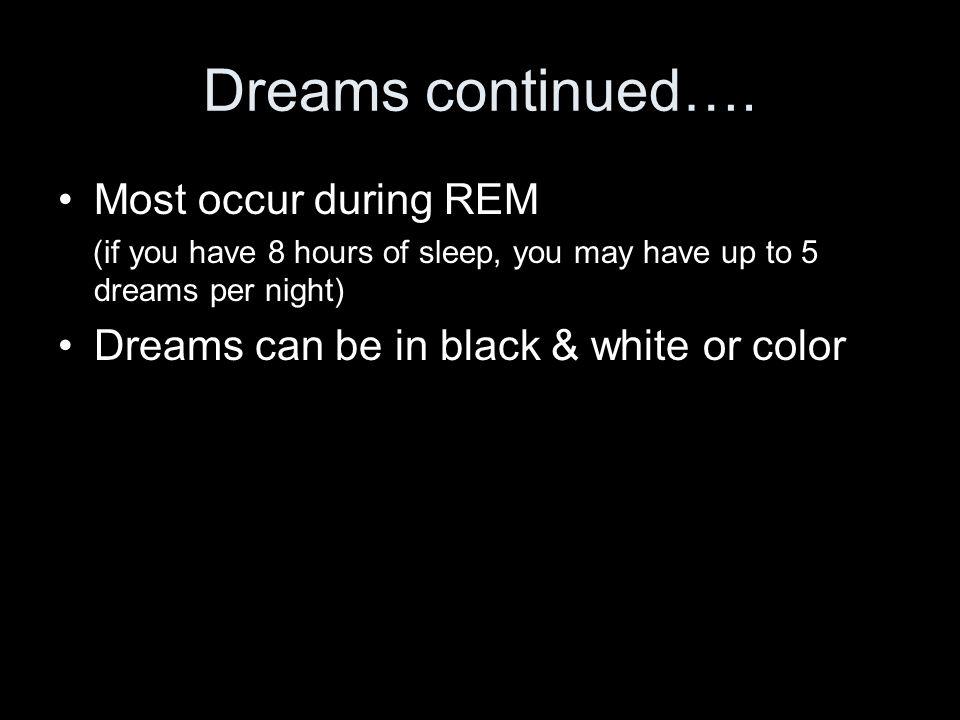 Dreams continued….