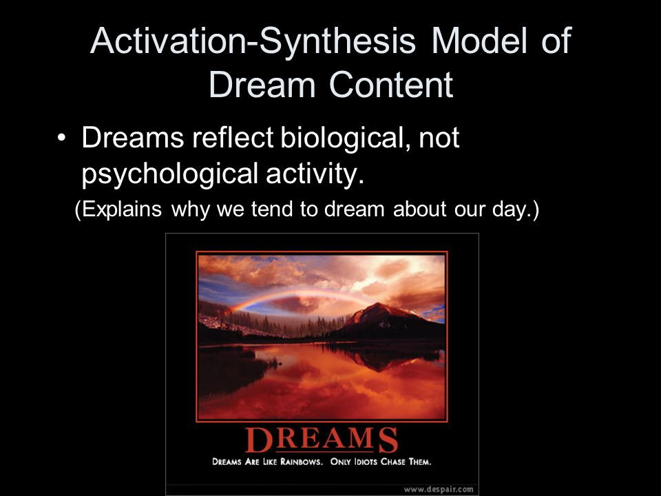 Activation-Synthesis Model of Dream Content Dreams reflect biological, not psychological activity.