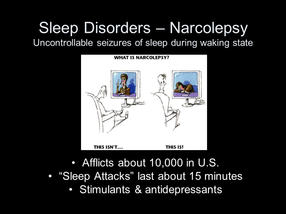 Sleep Disorders – Narcolepsy Uncontrollable seizures of sleep during waking state Afflicts about 10,000 in U.S.