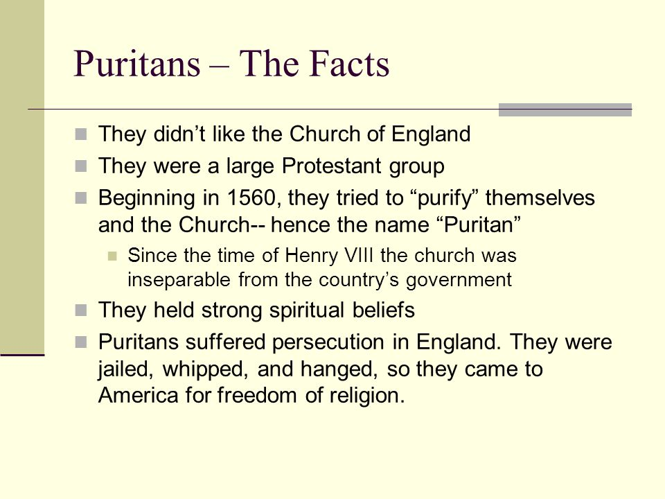 Puritans – The Facts They didn't like the Church of England They were a large Protestant group Beginning in 1560, they tried to purify themselves and the Church-- hence the name Puritan Since the time of Henry VIII the church was inseparable from the country's government They held strong spiritual beliefs Puritans suffered persecution in England.