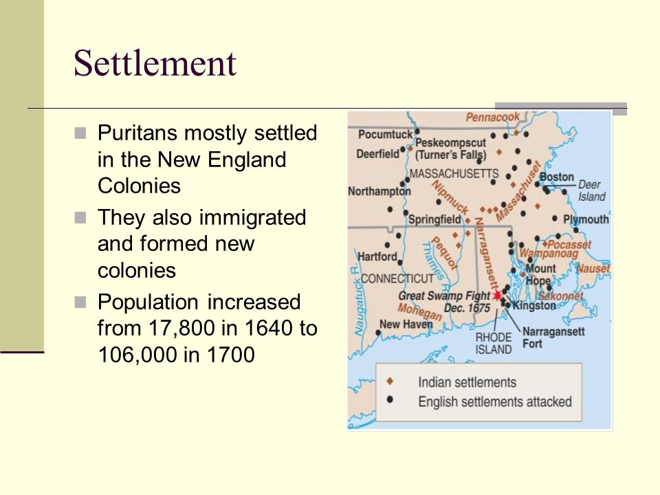 Settlement Puritans mostly settled in the New England Colonies They also immigrated and formed new colonies Population increased from 17,800 in 1640 to 106,000 in 1700
