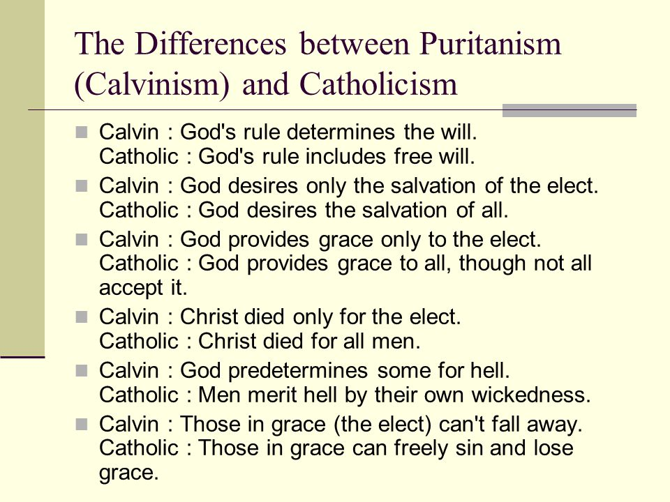 The Differences between Puritanism (Calvinism) and Catholicism Calvin : God s rule determines the will.