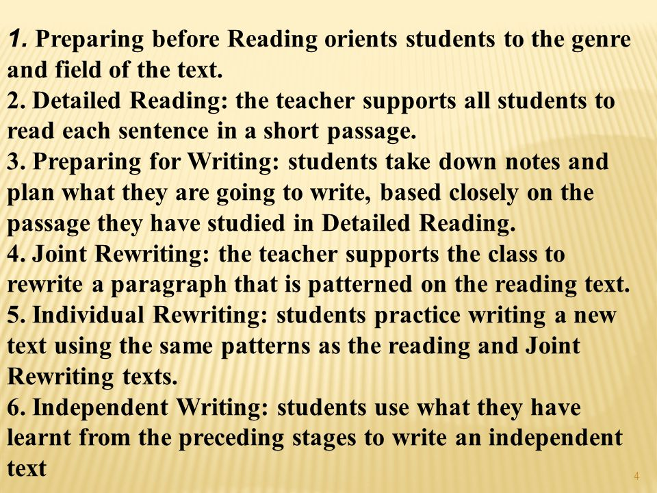  The teacher prepares students to understand a text by  1.