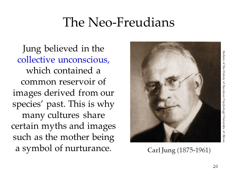 20 The Neo-Freudians Jung believed in the collective unconscious, which contained a common reservoir of images derived from our species' past.