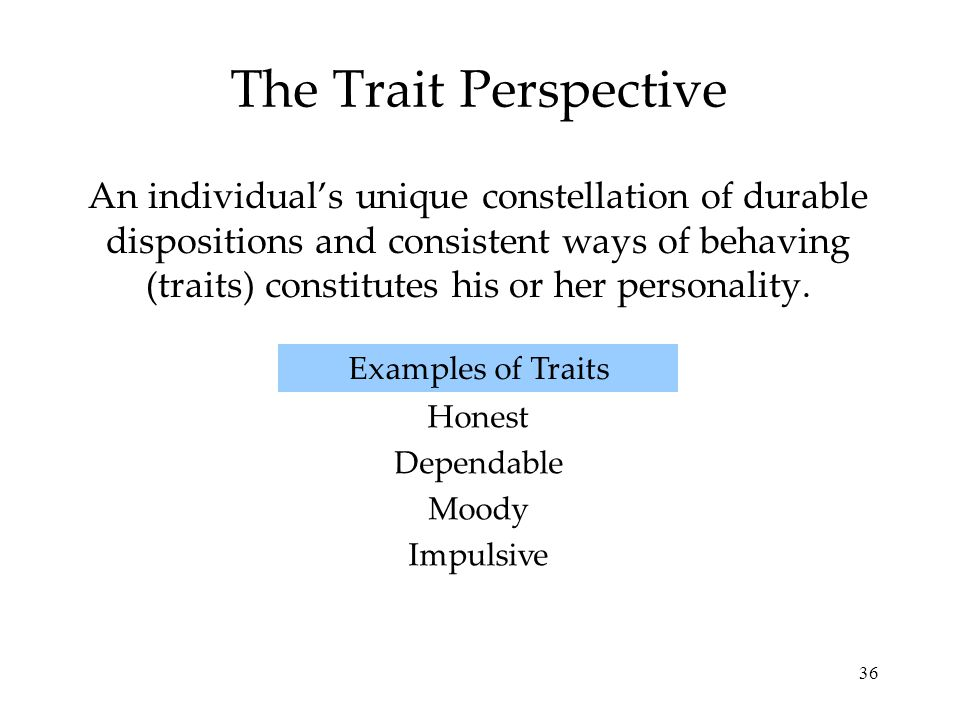 36 The Trait Perspective An individual's unique constellation of durable dispositions and consistent ways of behaving (traits) constitutes his or her personality.