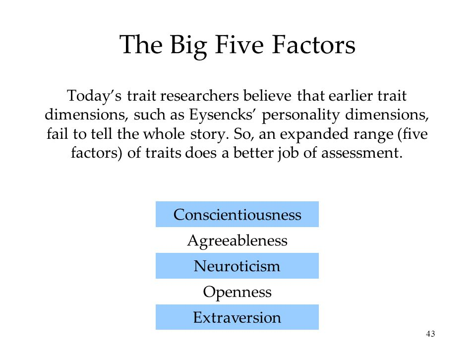 43 The Big Five Factors Today's trait researchers believe that earlier trait dimensions, such as Eysencks' personality dimensions, fail to tell the whole story.