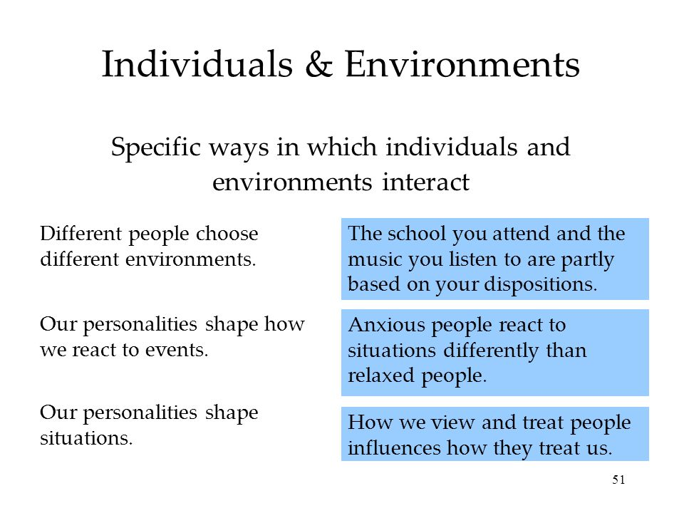 51 Individuals & Environments How we view and treat people influences how they treat us.