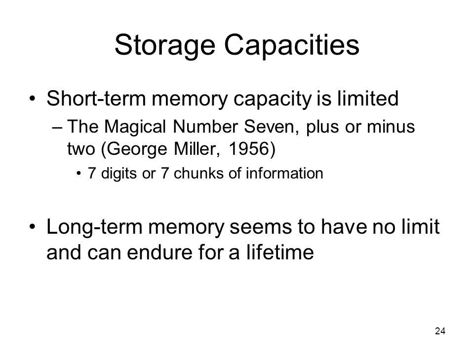 Storage capacity of short term memory