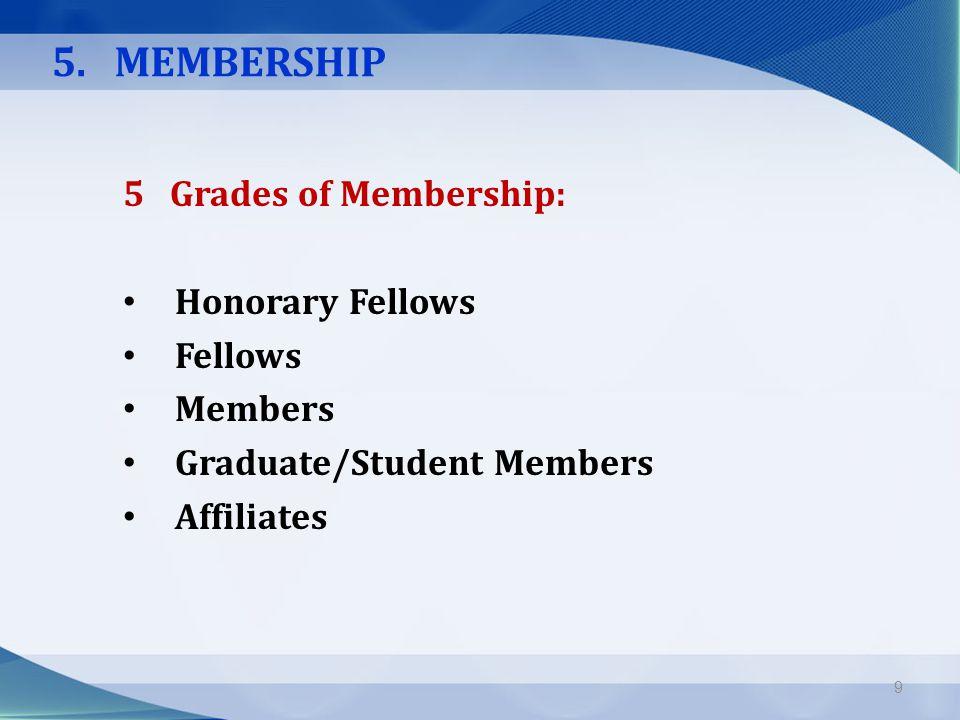5. MEMBERSHIP 5 Grades of Membership: Honorary Fellows Fellows Members Graduate/Student Members Affiliates 9