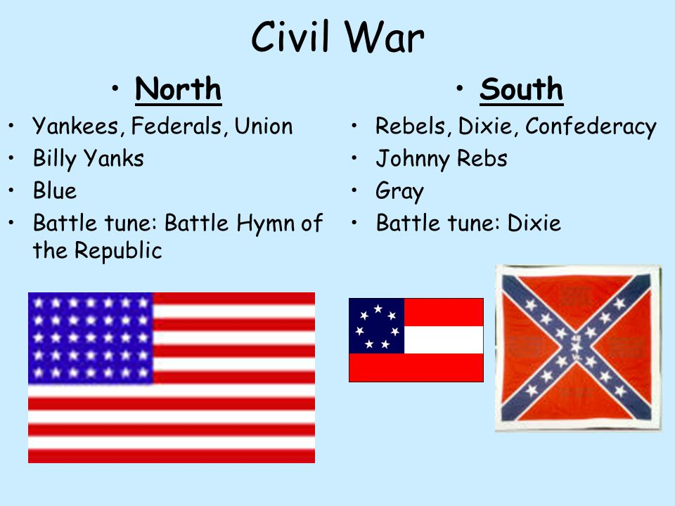 Civil War North Yankees, Federals, Union Billy Yanks Blue Battle tune: Battle Hymn of the Republic South Rebels, Dixie, Confederacy Johnny Rebs Gray B