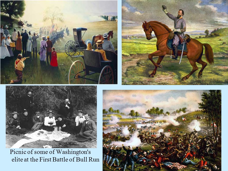 Picnic of some of Washington's elite at the First Battle of Bull Run
