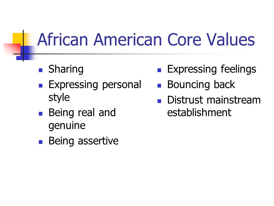 African American Core Values Sharing Expressing personal style Being real and genuine Being assertive Expressing feelings Bouncing back Distrust mainstream establishment