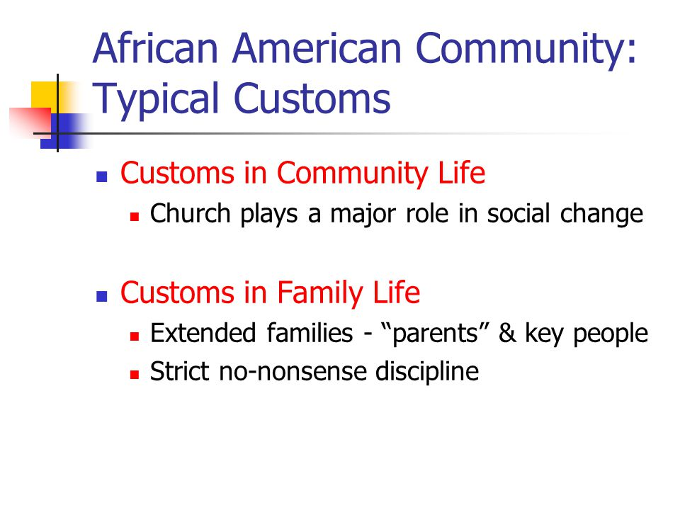 African American Community: Typical Customs Customs in Community Life Church plays a major role in social change Customs in Family Life Extended families - parents & key people Strict no-nonsense discipline