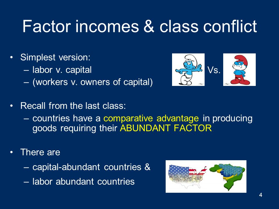 Back to 2 factors (ignoring collective action problem) DemocracyAuthoritarian Capital abundantLabor loses from trade but has political power  protectionism Capital wins from trade & has political power  free trade Labor abundantLabor wins from trade & has political power  free trade Capital loses from trade but has political power  protectionism 34