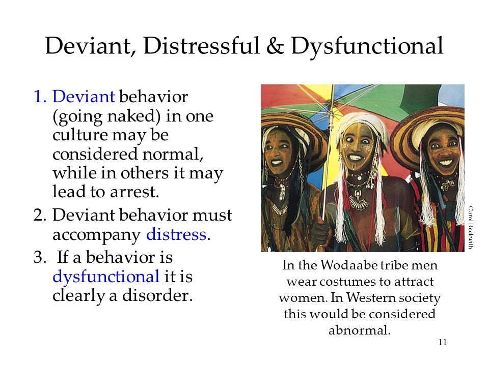 11 Deviant, Distressful & Dysfunctional 1.Deviant behavior (going naked) in one culture may be considered normal, while in others it may lead to arrest.