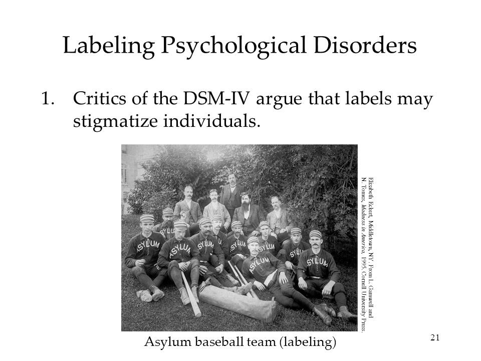 21 Labeling Psychological Disorders 1.Critics of the DSM-IV argue that labels may stigmatize individuals.