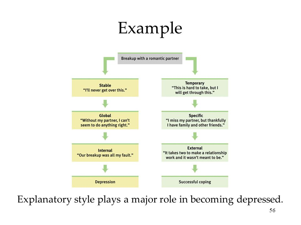 56 Example Explanatory style plays a major role in becoming depressed.