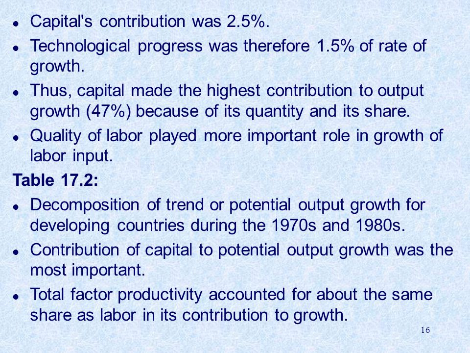 16 l Capital s contribution was 2.5%.