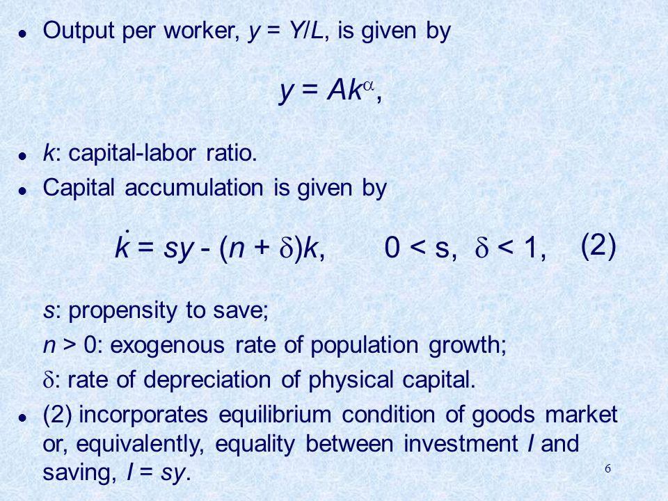 6 l Output per worker, y = Y/L, is given by y = Ak , l k: capital-labor ratio.