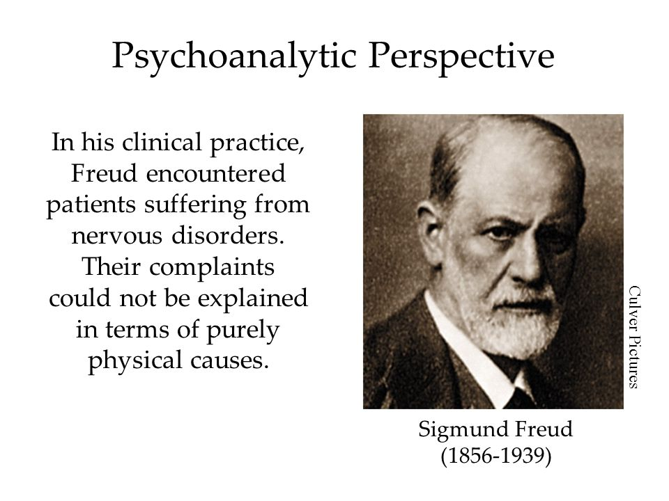 Psychoanalytic Perspective In his clinical practice, Freud encountered patients suffering from nervous disorders. Their complaints could not be explai