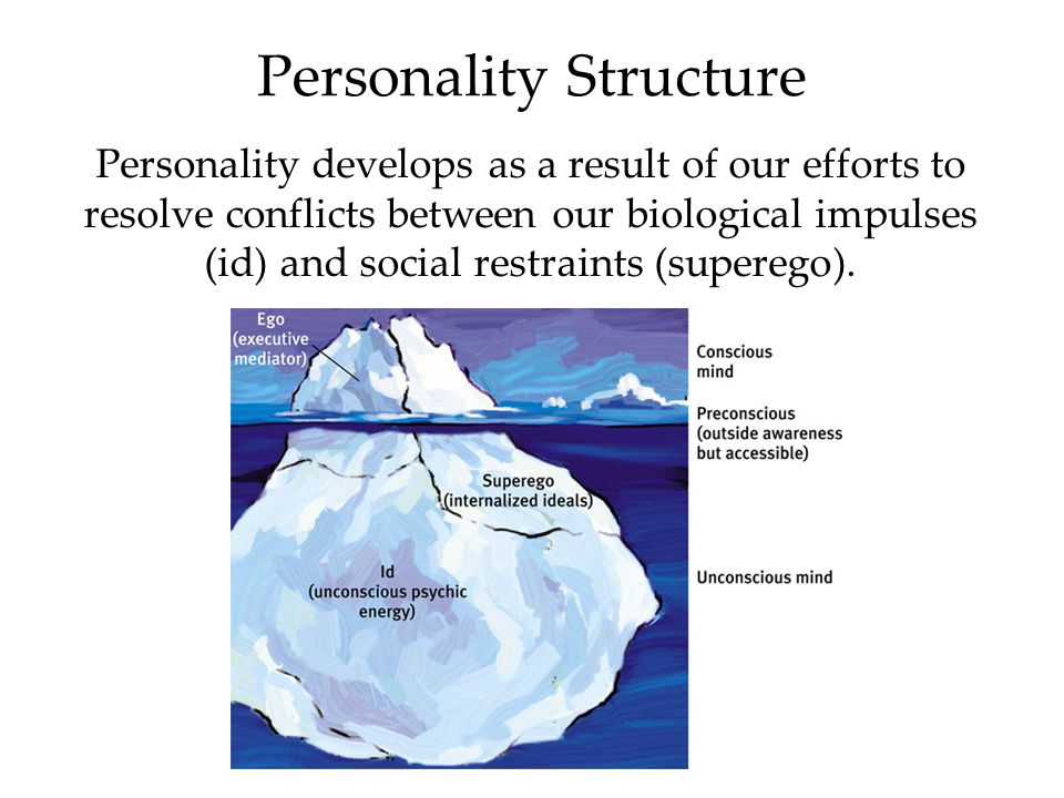 Personality Structure Personality develops as a result of our efforts to resolve conflicts between our biological impulses (id) and social restraints
