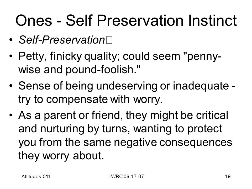Attitudes-011LWBC 06-17-0719 Ones - Self Preservation Instinct Self-Preservation Petty, finicky quality; could seem penny- wise and pound-foolish. Sense of being undeserving or inadequate - try to compensate with worry.