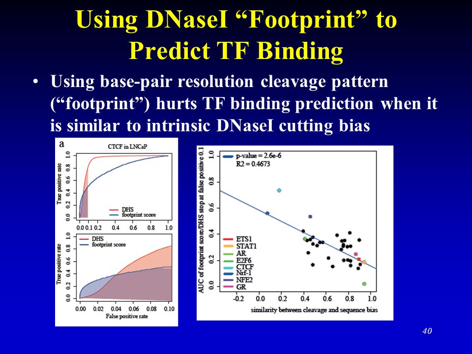 Using DNaseI Footprint to Predict TF Binding Using base-pair resolution cleavage pattern ( footprint ) hurts TF binding prediction when it is similar to intrinsic DNaseI cutting bias 40