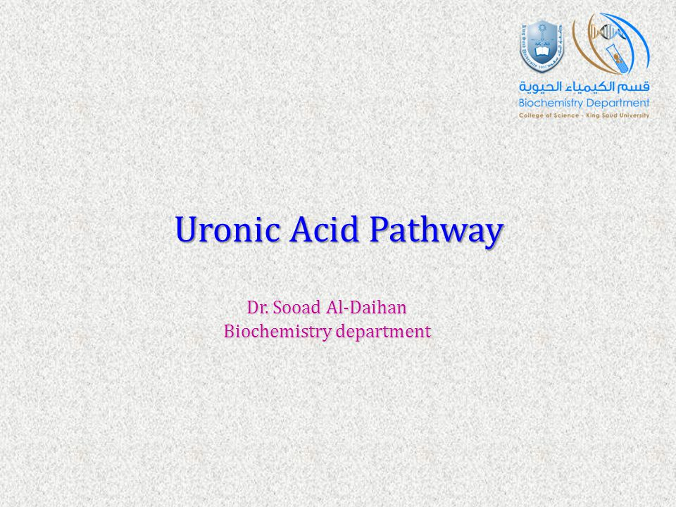 Uronic Acid Pathway Dr. Sooad Al-Daihan Biochemistry department