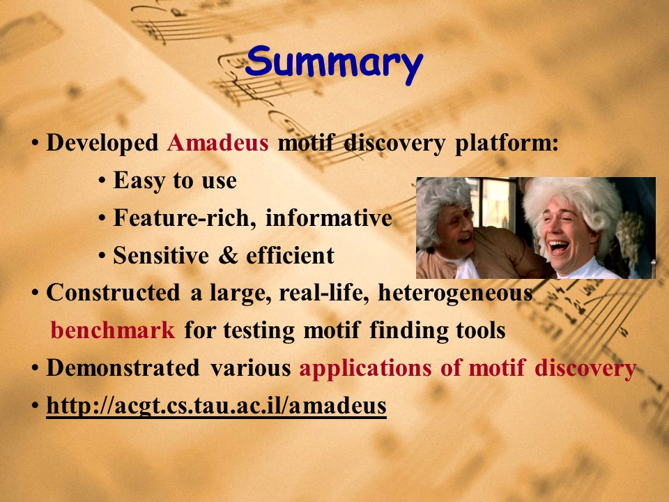 Summary Developed Amadeus motif discovery platform: Easy to use Feature-rich, informative Sensitive & efficient Constructed a large, real-life, heterogeneous benchmark for testing motif finding tools Demonstrated various applications of motif discovery http://acgt.cs.tau.ac.il/amadeus