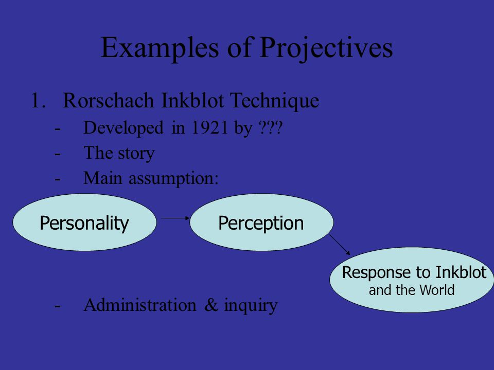 Examples of Projectives 1.Rorschach Inkblot Technique -Developed in 1921 by ??? -The story -Main assumption: -Administration & inquiry PersonalityPerc
