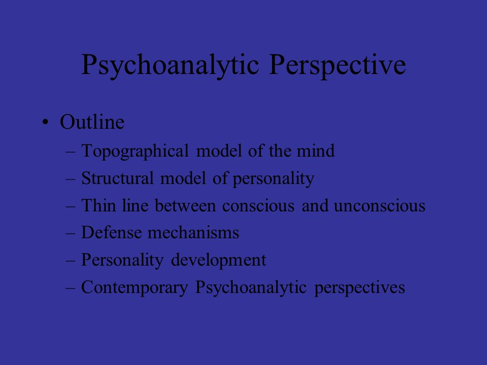 Psychoanalytic Perspective Outline –Topographical model of the mind –Structural model of personality –Thin line between conscious and unconscious –Defense mechanisms –Personality development –Contemporary Psychoanalytic perspectives