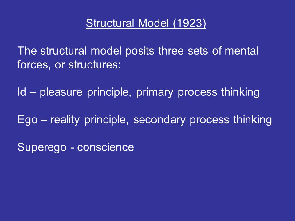 Structural Model (1923) The structural model posits three sets of mental forces, or structures: Id – pleasure principle, primary process thinking Ego