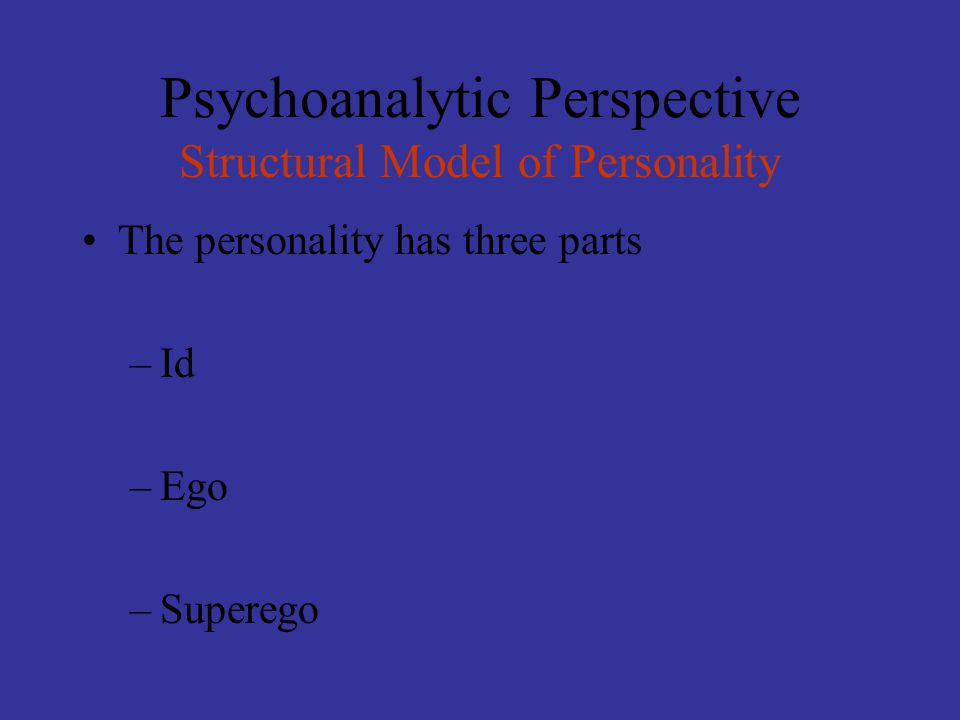 Psychoanalytic Perspective Structural Model of Personality The personality has three parts –Id –Ego –Superego