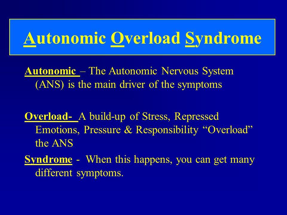 Autonomic Overload Syndrome Autonomic – The Autonomic Nervous System (ANS) is the main driver of the symptoms Overload- A build-up of Stress, Represse