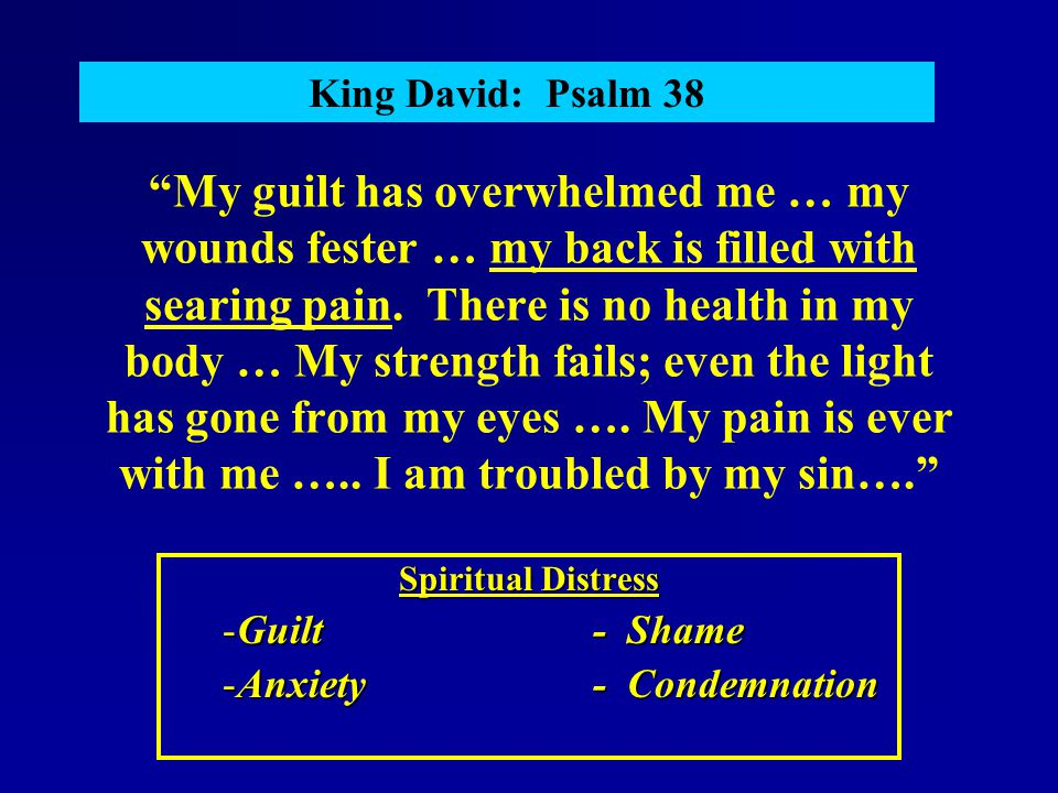 """""""My guilt has overwhelmed me … my wounds fester … my back is filled with searing pain. There is no health in my body … My strength fails; even the lig"""