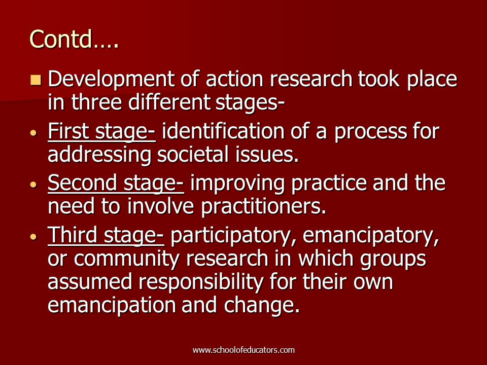 Contd…. Development of action research took place in three different stages- Development of action research took place in three different stages- Firs