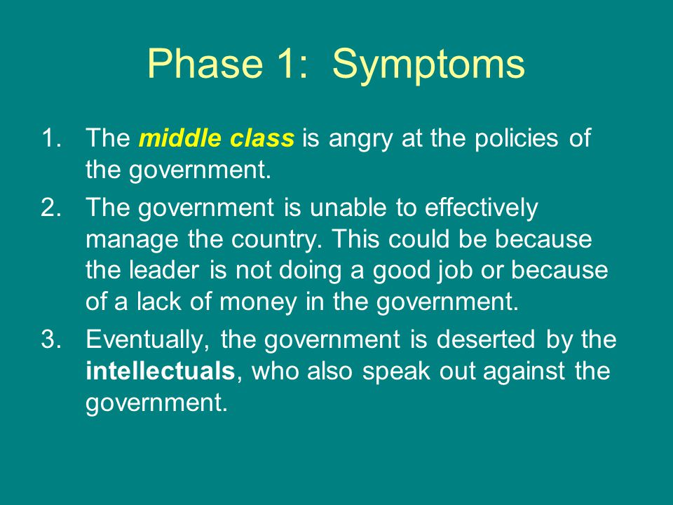Phase 2: The Rising Fever 1.This is the escalation of the anger felt by the middle class.