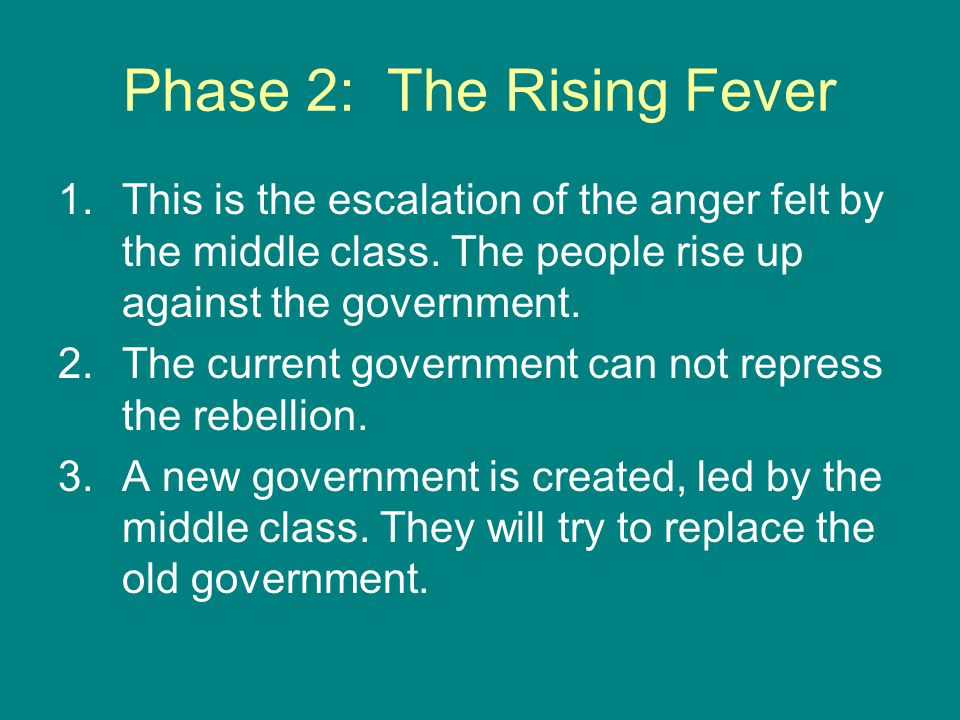 Phase 3: Crisis 1.The revolutionary new government tries to overthrow the old government.