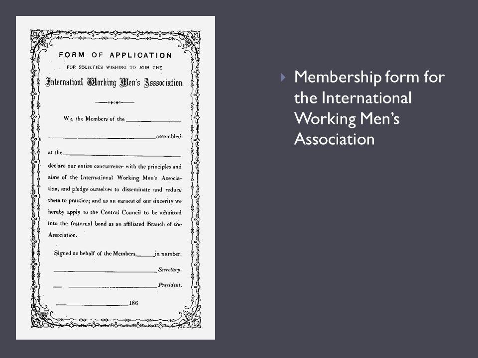  Membership form for the International Working Men's Association