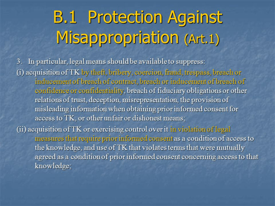 B.1 Protection Against Misappropriation (Art.1) 3.